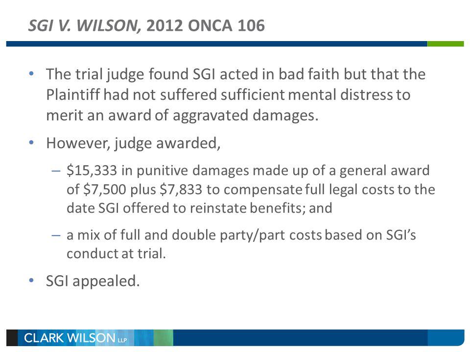 SGI V. WILSON, 2012 ONCA 106