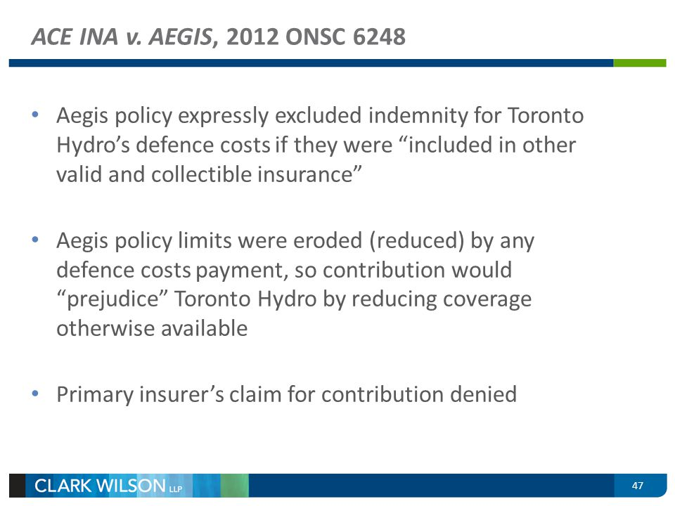 ACE INA v. AEGIS, 2012 ONSC 6248