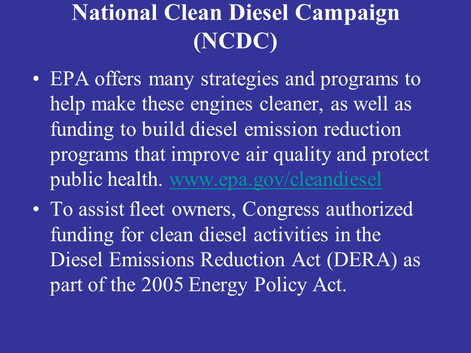 National Clean Diesel Campaign (NCDC)