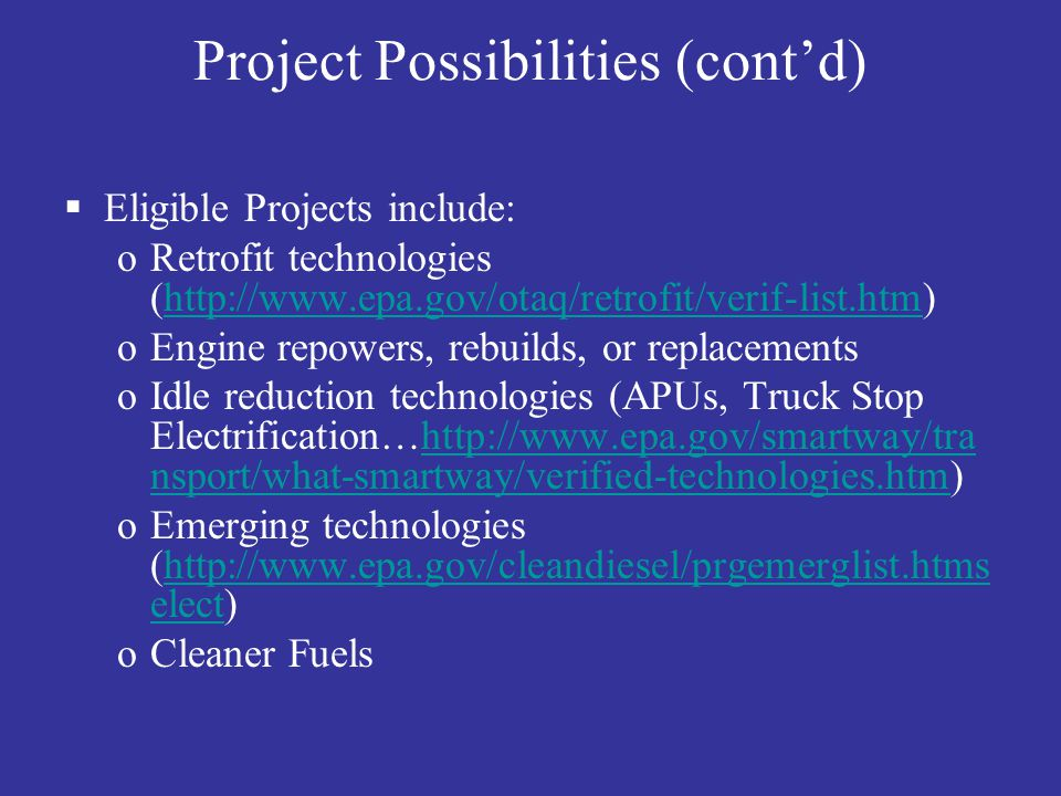 Project Possibilities (cont'd)