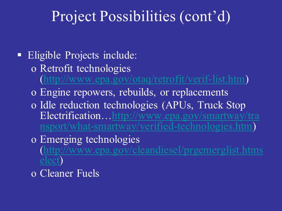 Project Possibilities (cont'd)