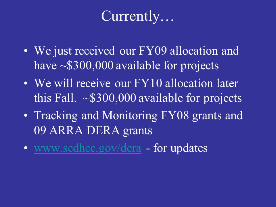 Currently… We just received our FY09 allocation and have ~$300,000 available for projects.