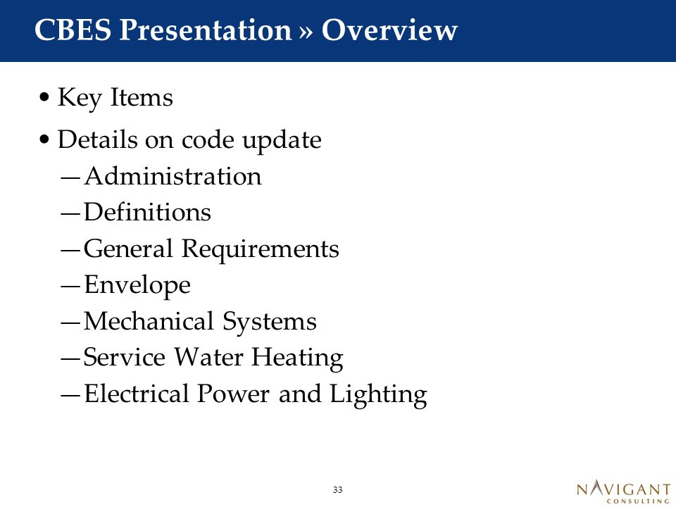 CBES Presentation » Key Items