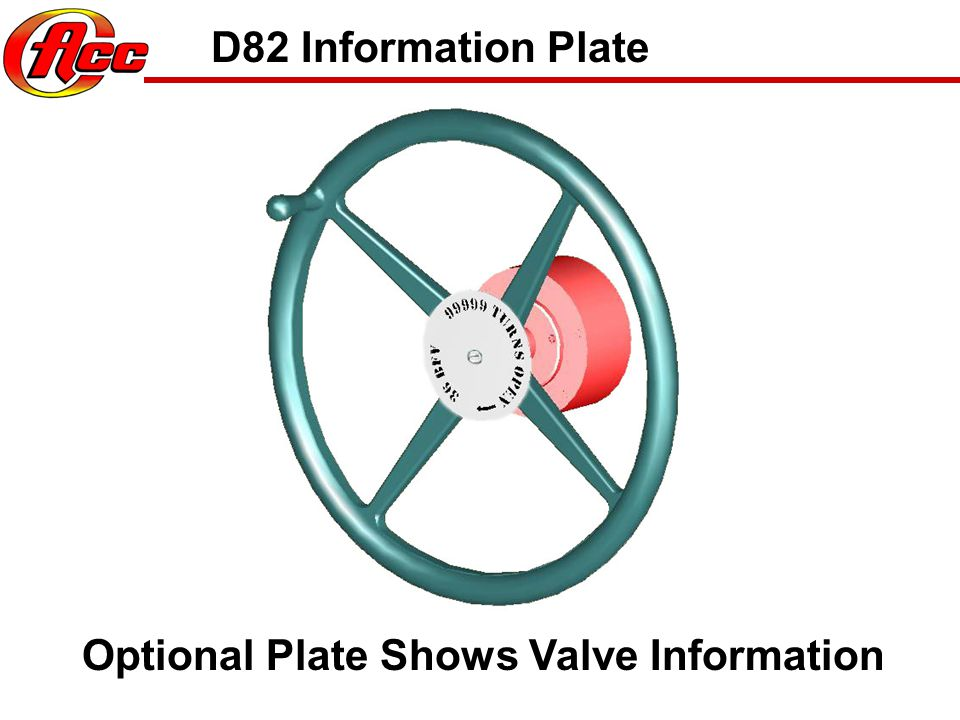 D82 Information Plate Optional Plate Shows Valve Information