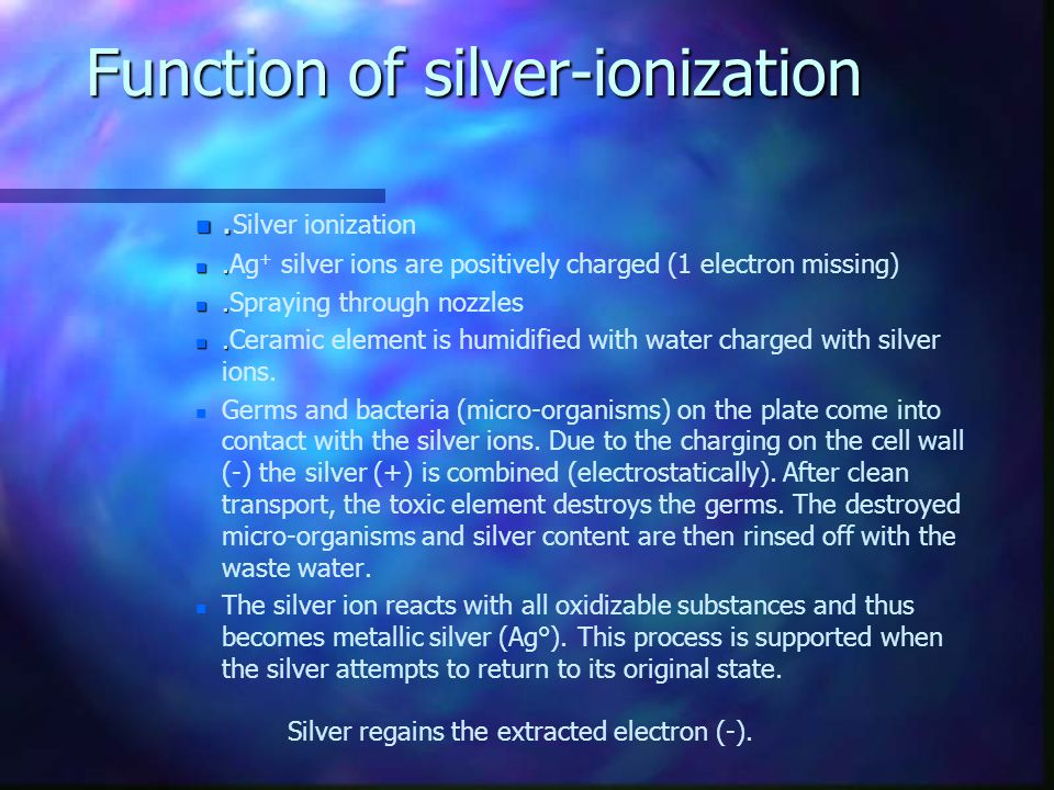 Function of silver-ionization
