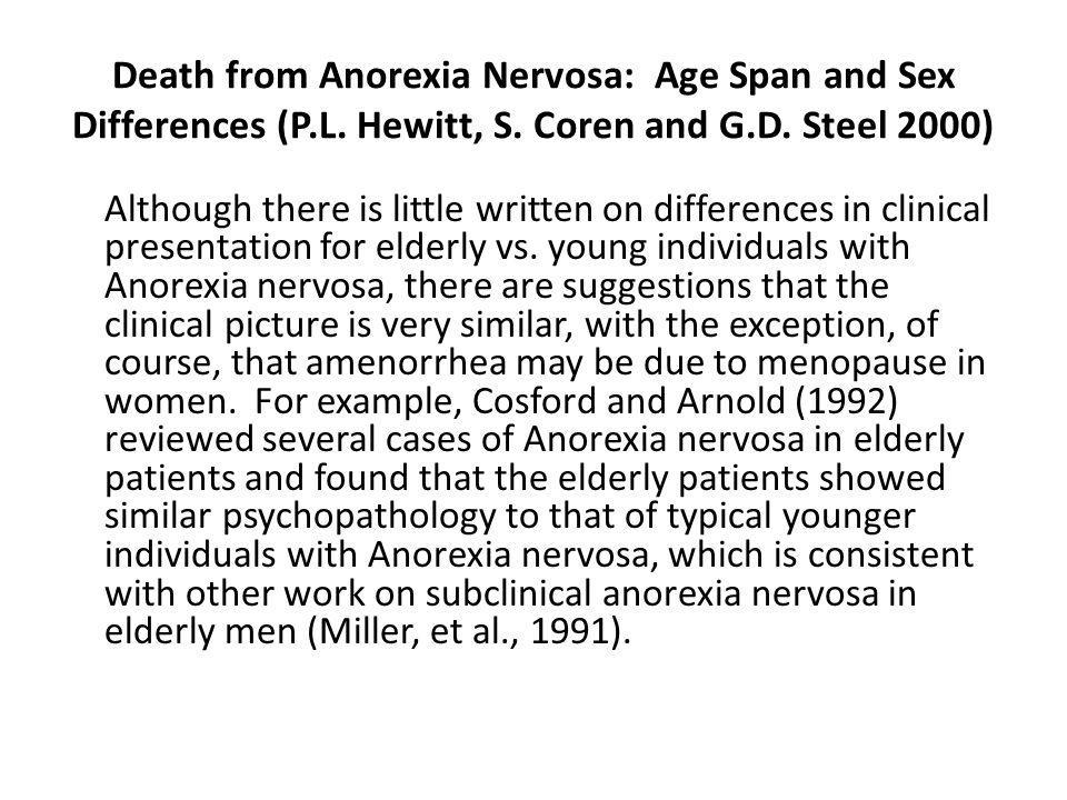 Death from Anorexia Nervosa: Age Span and Sex Differences (P. L