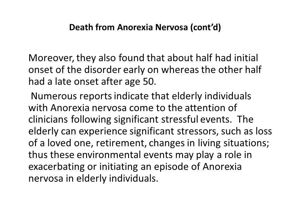 Death from Anorexia Nervosa (cont'd)