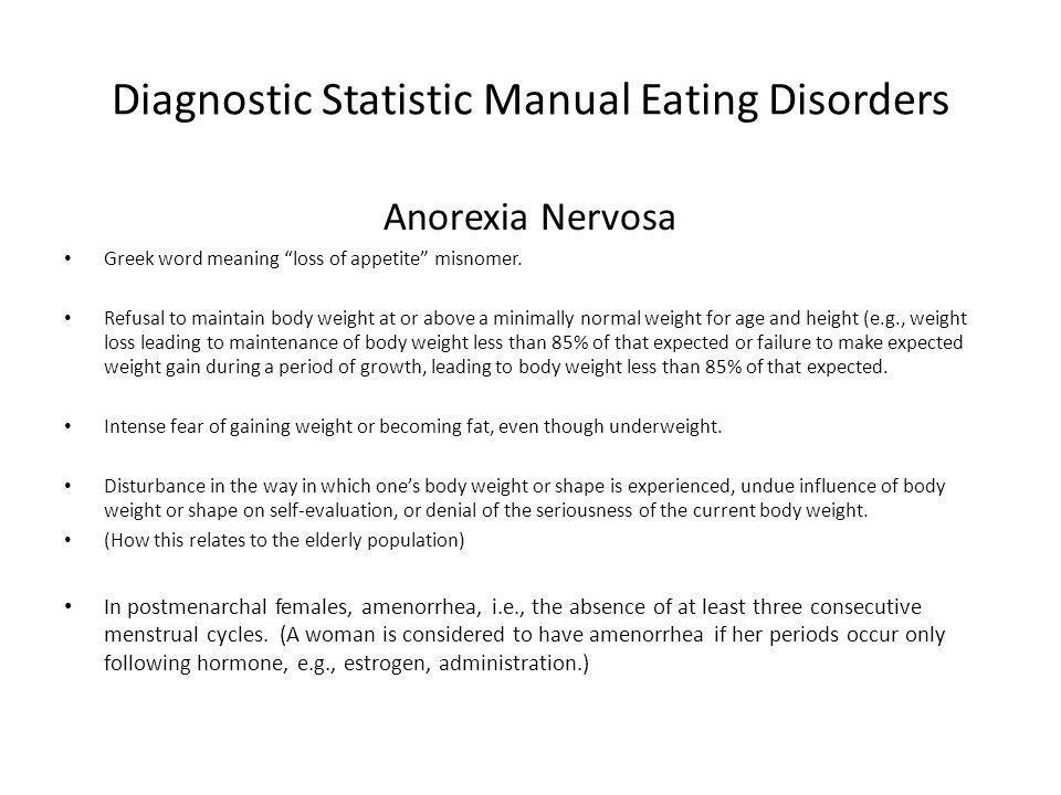 Diagnostic Statistic Manual Eating Disorders