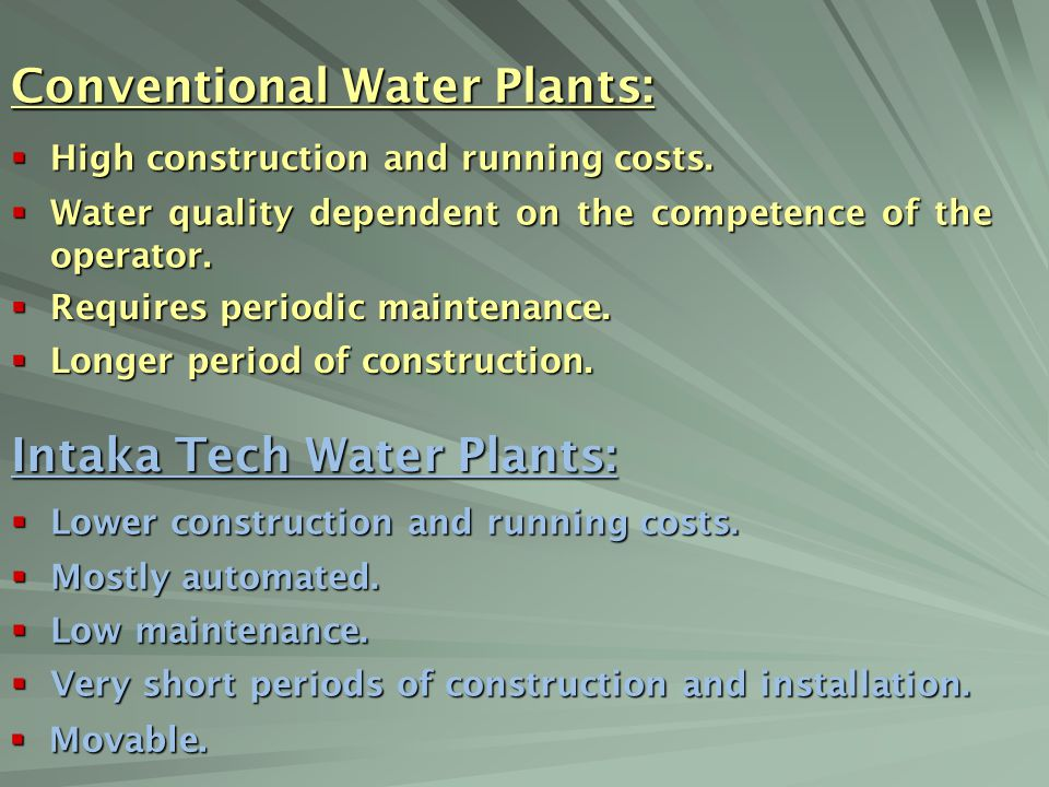 Conventional Water Plants: