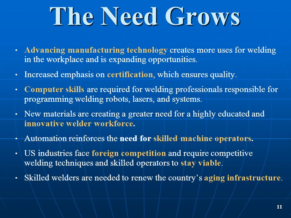 The Need Grows Advancing manufacturing technology creates more uses for welding in the workplace and is expanding opportunities.