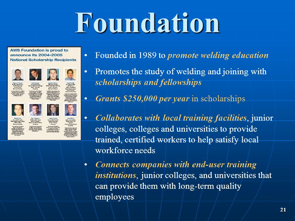 Foundation Founded in 1989 to promote welding education