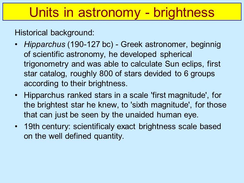 Units in astronomy - brightness