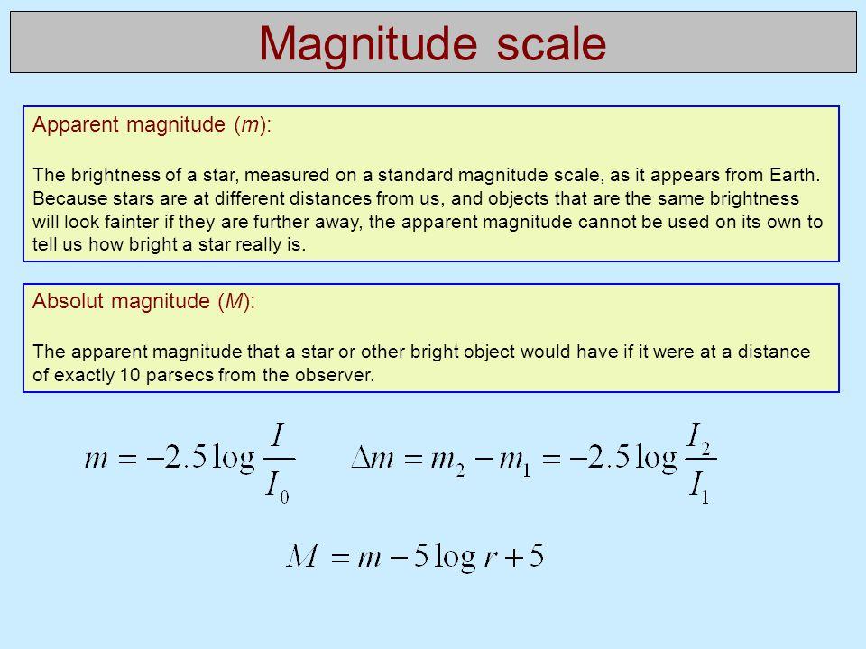 Magnitude scale Apparent magnitude (m): Absolut magnitude (M):