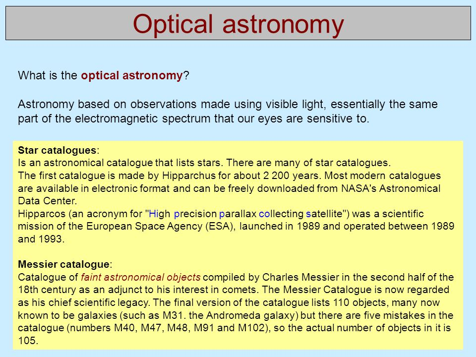 Optical astronomy What is the optical astronomy