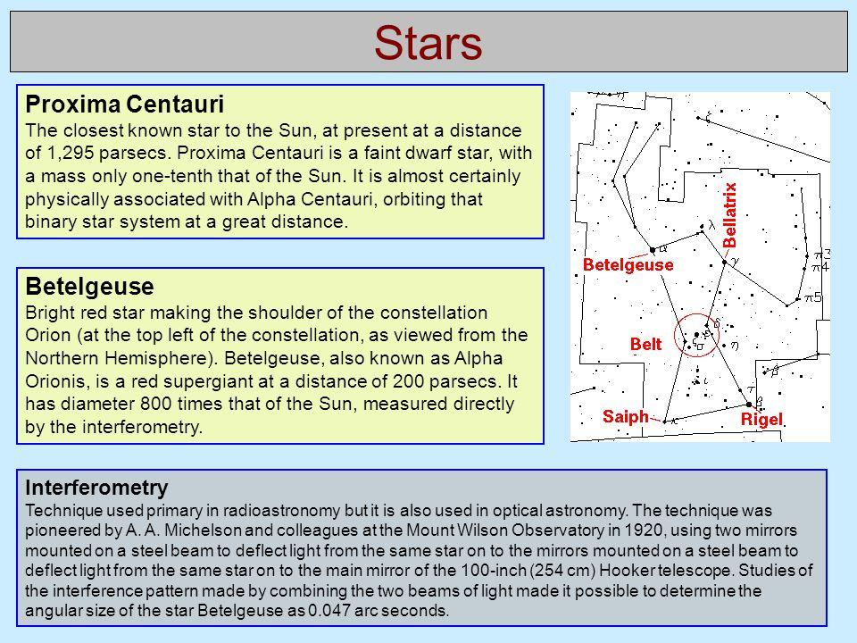 Stars Proxima Centauri Betelgeuse Interferometry