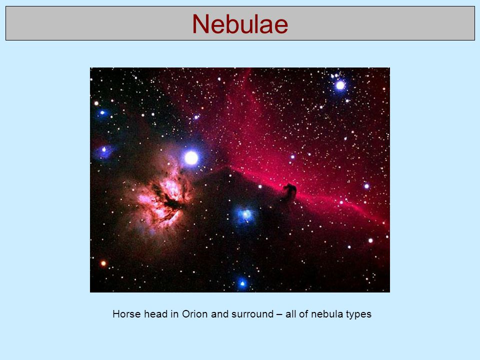 Horse head in Orion and surround – all of nebula types