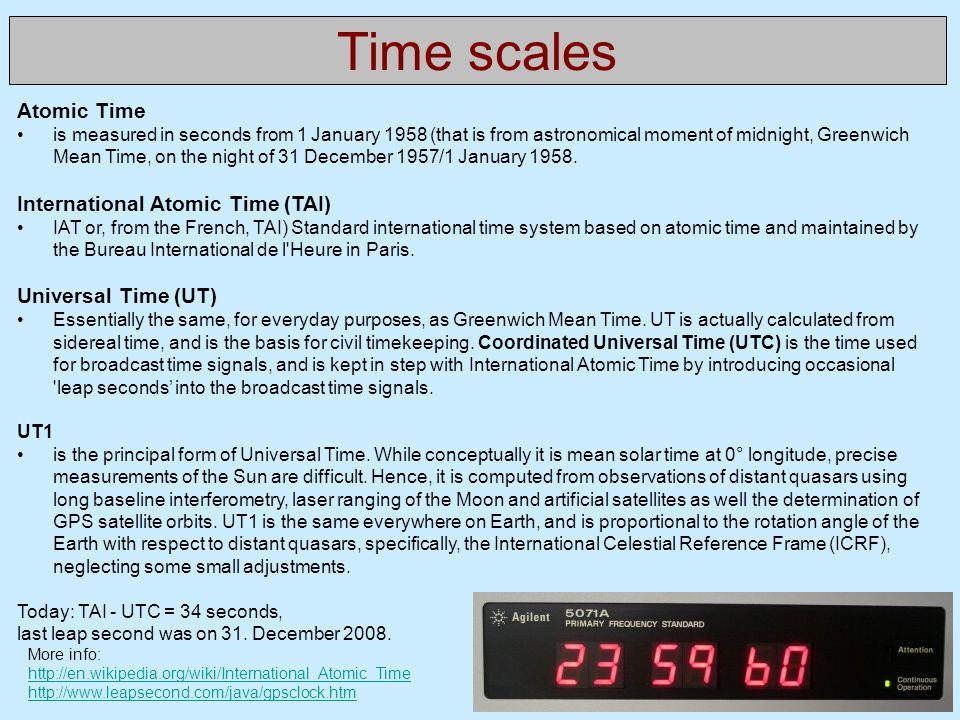 Time scales Atomic Time International Atomic Time (TAI)