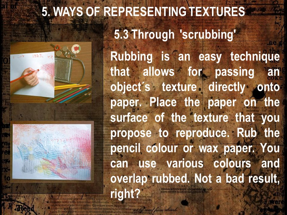 5. WAYS OF REPRESENTING TEXTURES