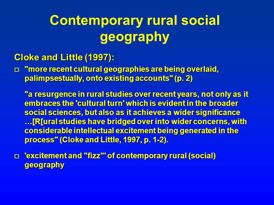 Contemporary rural social geography