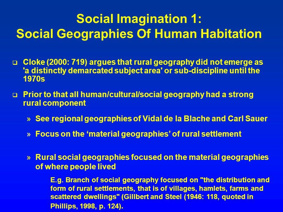Social Imagination 1: Social Geographies Of Human Habitation