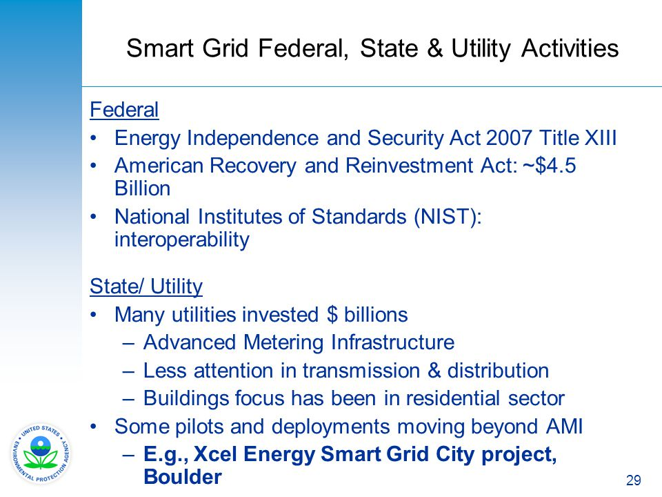 Smart Grid Federal, State & Utility Activities