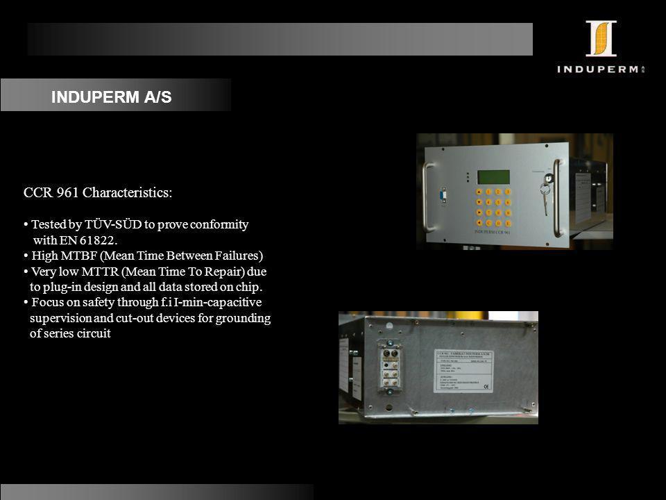INDUPERM A/S CCR 961 Characteristics: