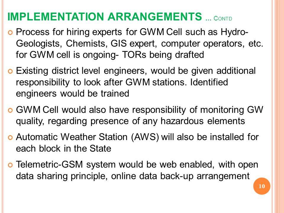 IMPLEMENTATION ARRANGEMENTS … Contd