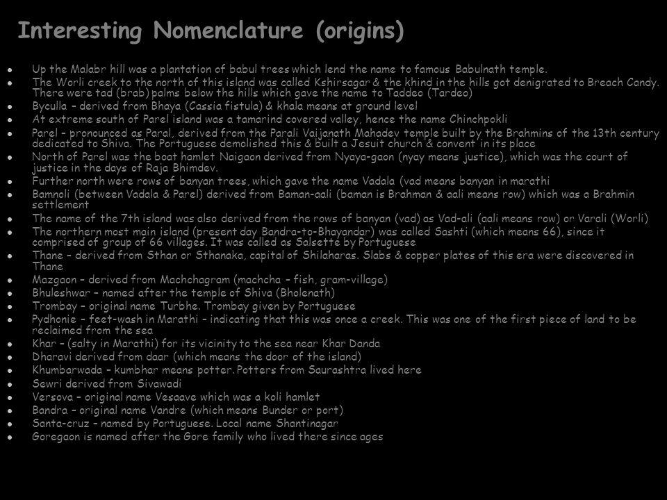 Interesting Nomenclature (origins)