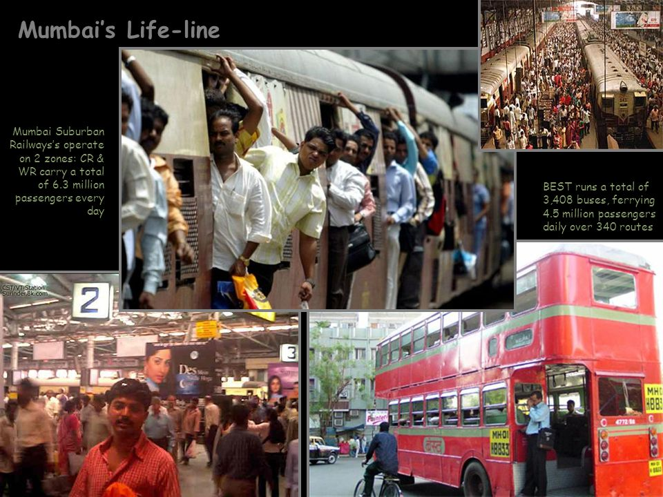 Mumbai's Life-line Mumbai Suburban Railways's operate on 2 zones: CR & WR carry a total of 6.3 million passengers every day.