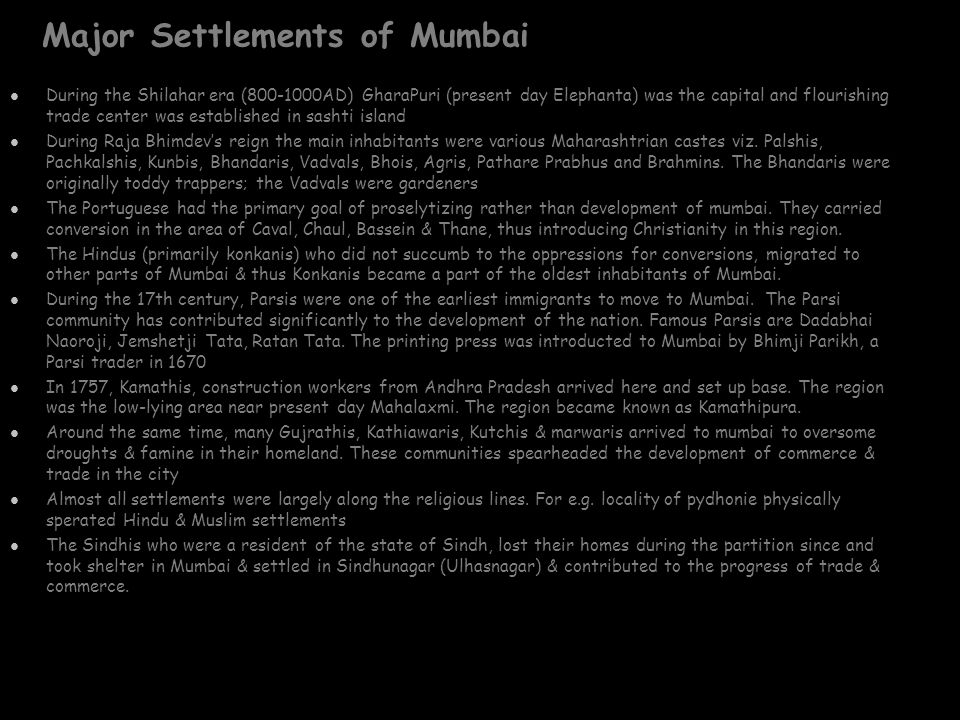 Major Settlements of Mumbai