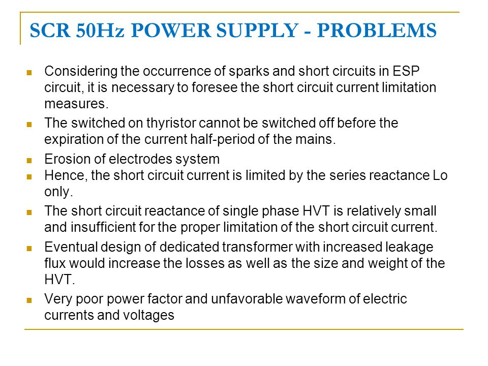 SCR 50Hz POWER SUPPLY - PROBLEMS