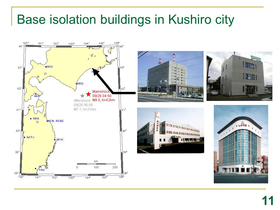 Base isolation buildings in Kushiro city