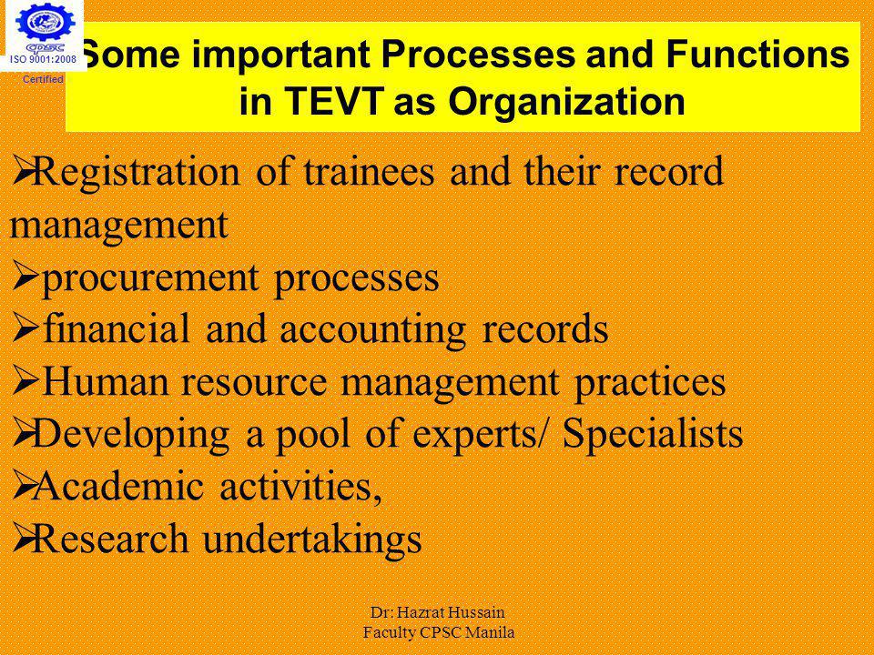 Some important Processes and Functions in TEVT as Organization