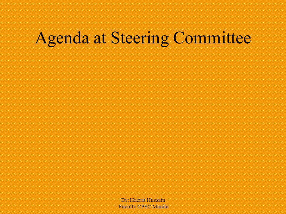 Agenda at Steering Committee