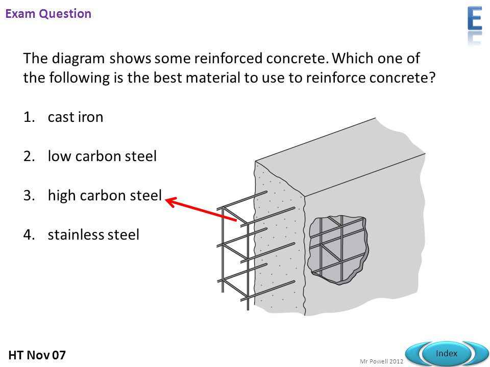 E Exam Question. The diagram shows some reinforced concrete. Which one of the following is the best material to use to reinforce concrete