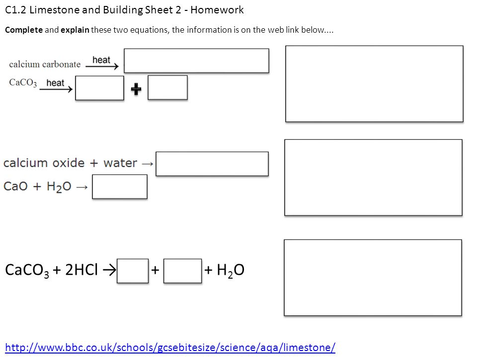 C1.2 Limestone and Building Sheet 2 - Homework