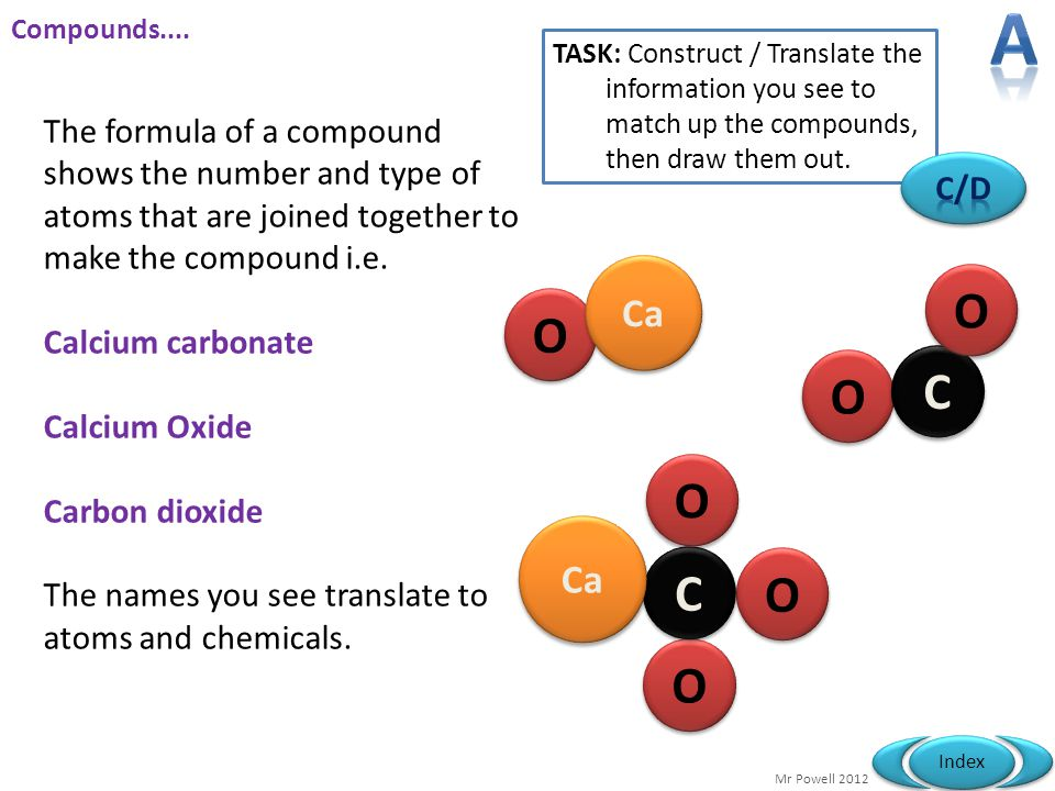 A Compounds.... TASK: Construct / Translate the information you see to match up the compounds, then draw them out.