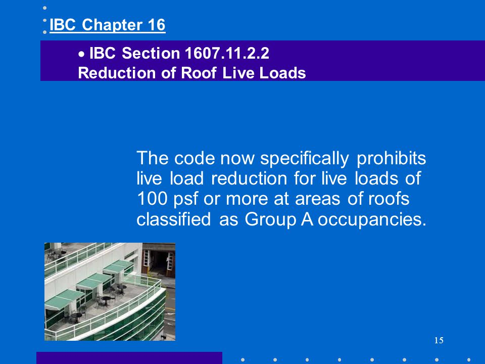 IBC Chapter 16 IBC Section 1607.11.2.2. Reduction of Roof Live Loads.