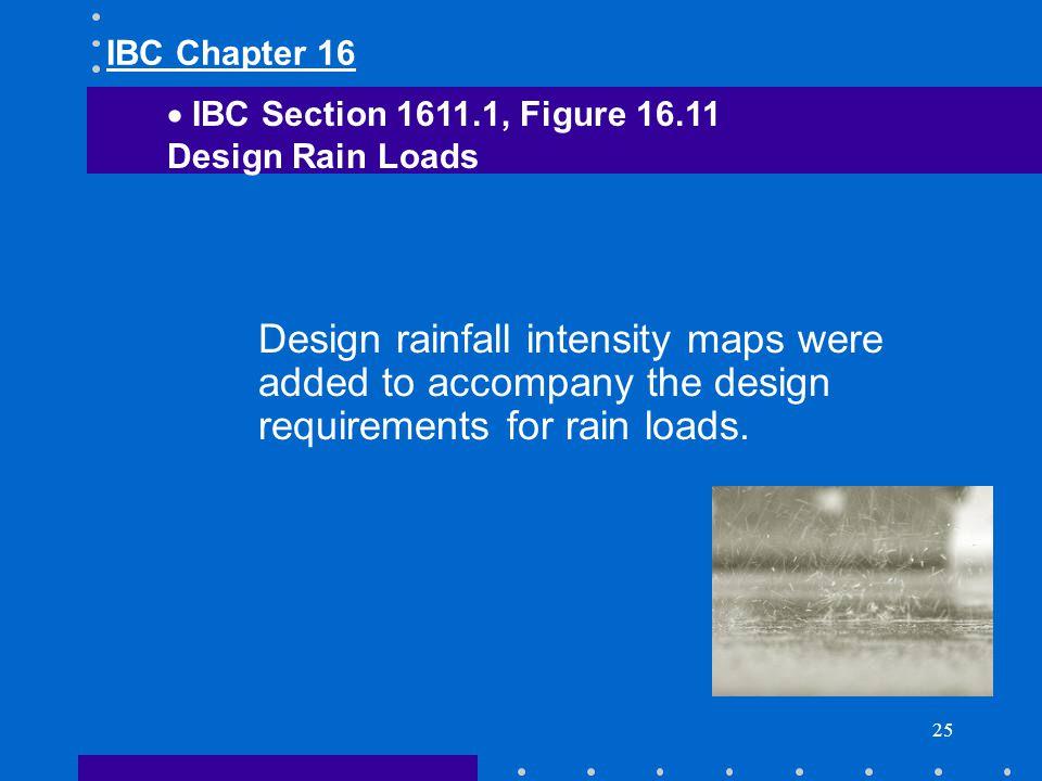 IBC Chapter 16 IBC Section 1611.1, Figure 16.11. Design Rain Loads.