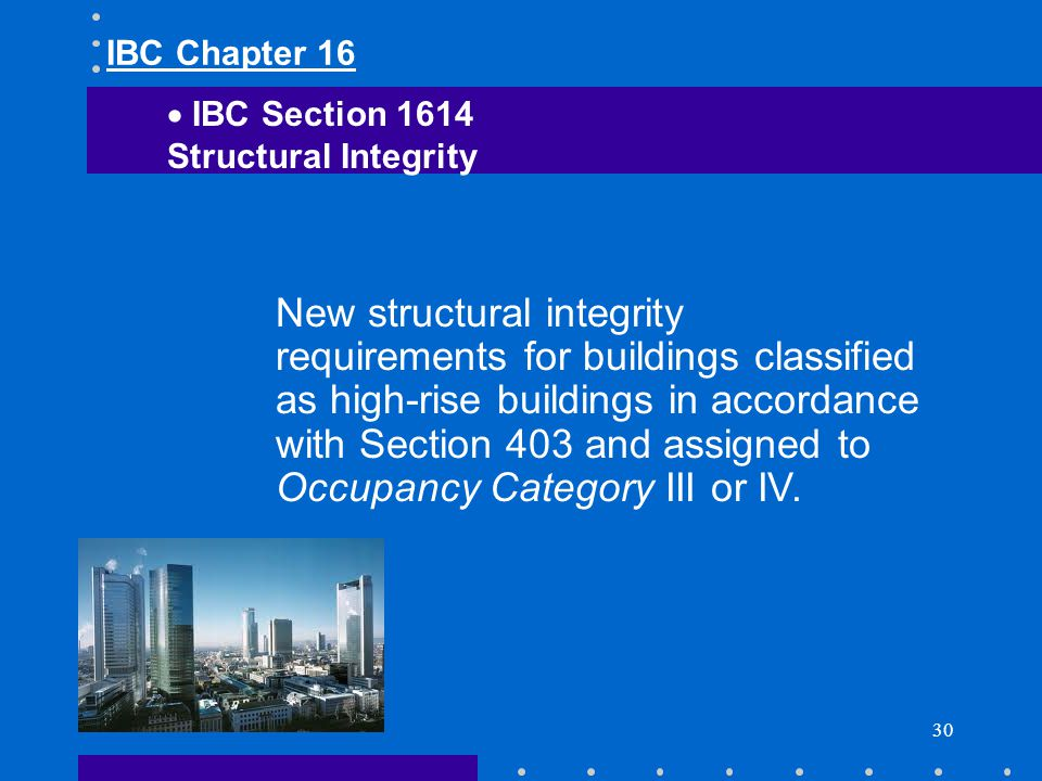 IBC Chapter 16 IBC Section Structural Integrity.