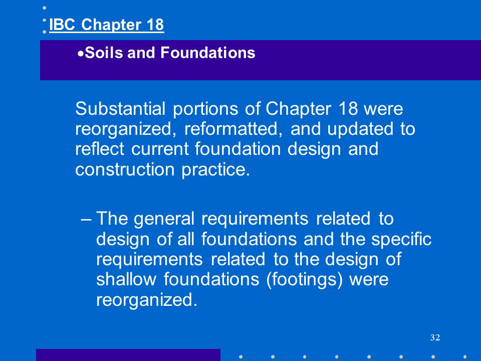 IBC Chapter 18 Soils and Foundations.