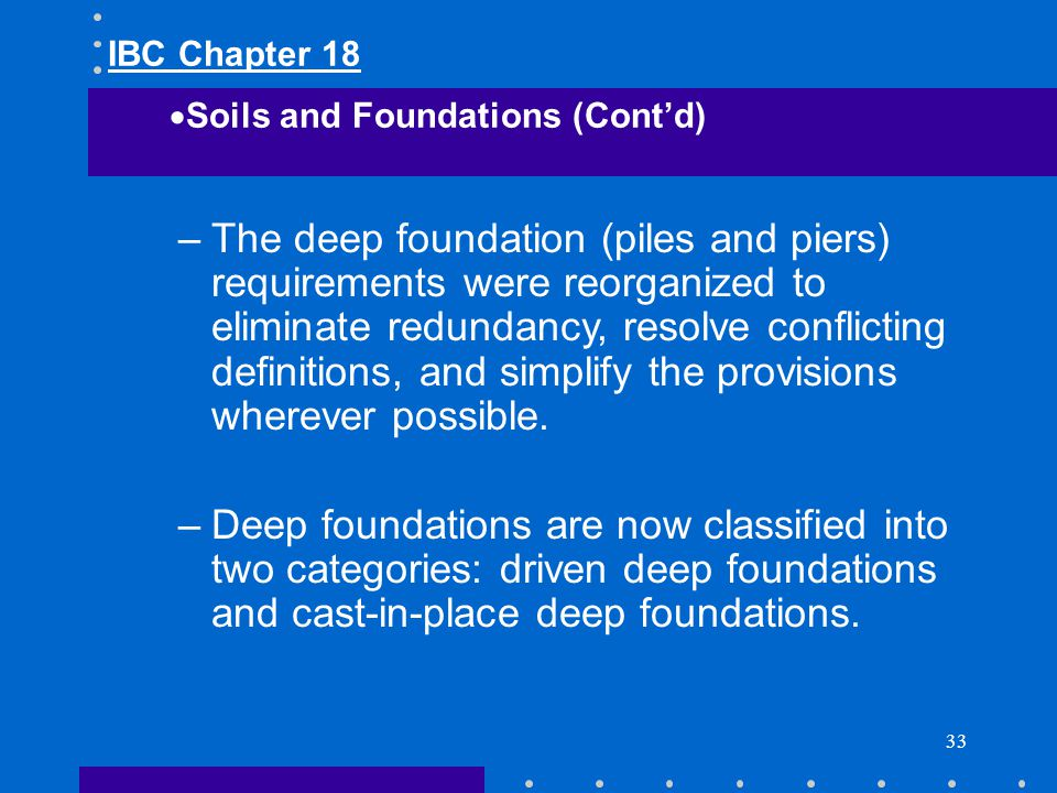 IBC Chapter 18 Soils and Foundations (Cont'd)