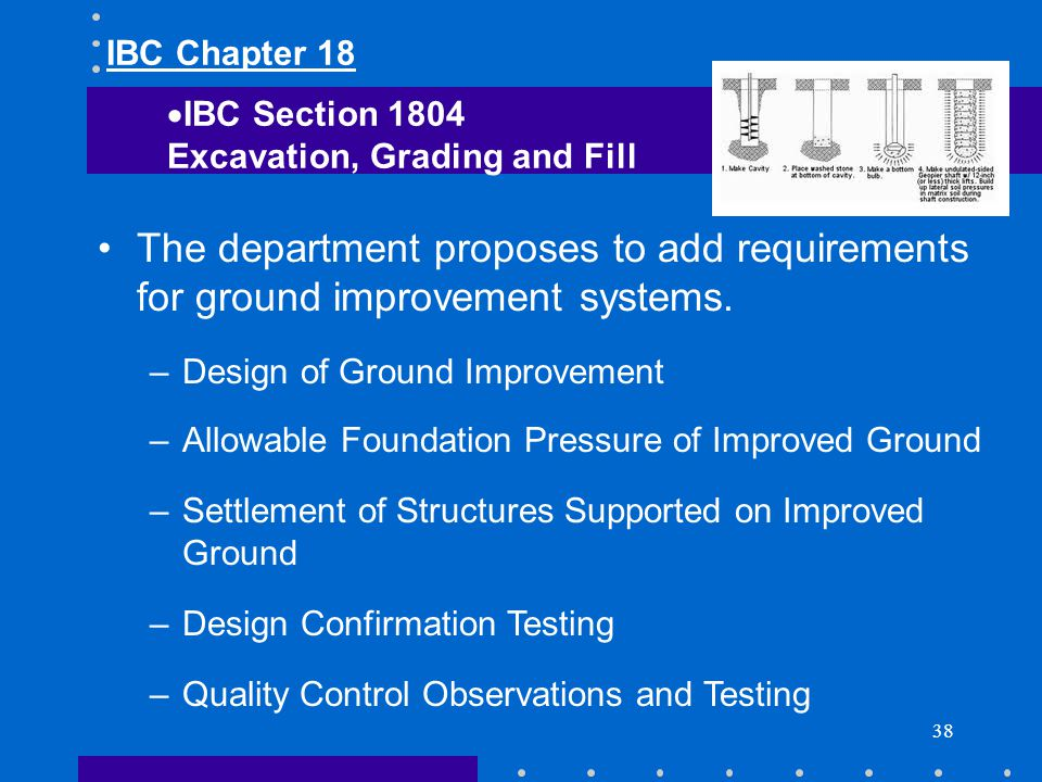 IBC Chapter 18 IBC Section Excavation, Grading and Fill. The department proposes to add requirements for ground improvement systems.