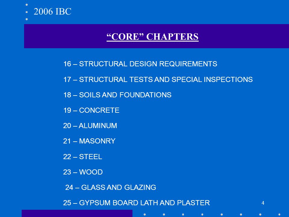 2006 IBC CORE CHAPTERS 16 – STRUCTURAL DESIGN REQUIREMENTS