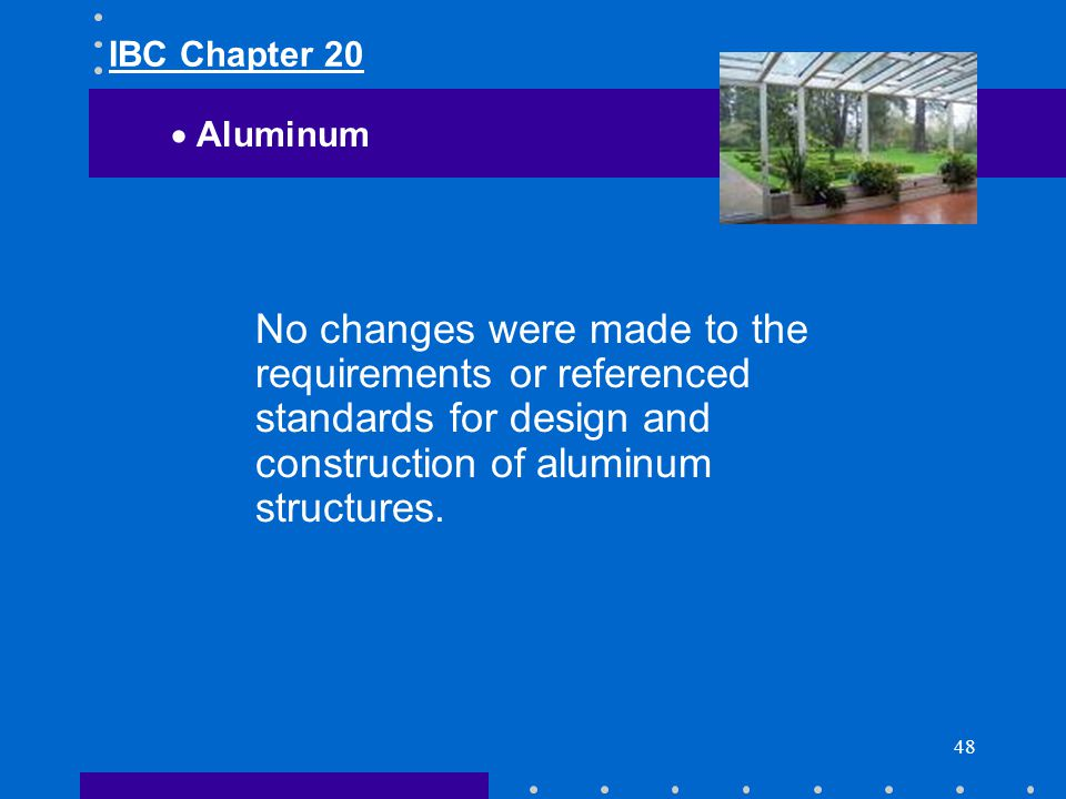 IBC Chapter 20 Aluminum.