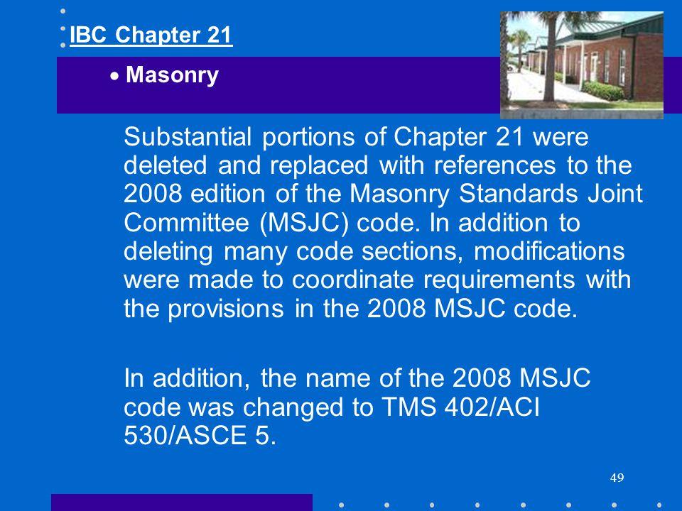 IBC Chapter 21 Masonry.