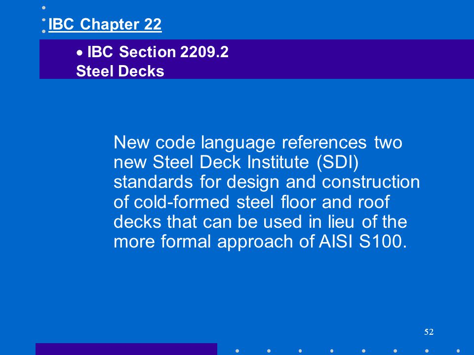 IBC Chapter 22 IBC Section Steel Decks.