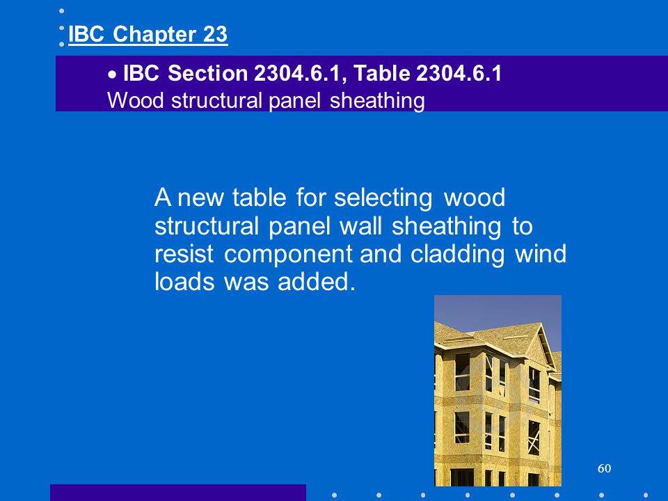 IBC Chapter 23 IBC Section 2304.6.1, Table 2304.6.1. Wood structural panel sheathing.
