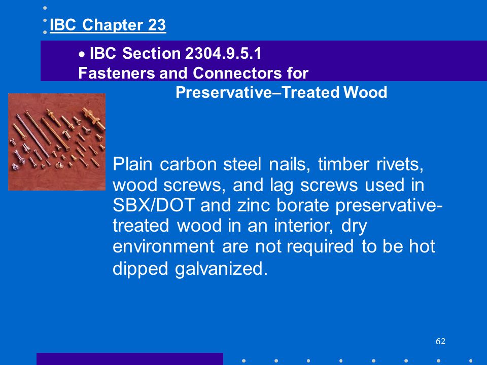 IBC Chapter 23 IBC Section 2304.9.5.1. Fasteners and Connectors for. Preservative–Treated Wood.