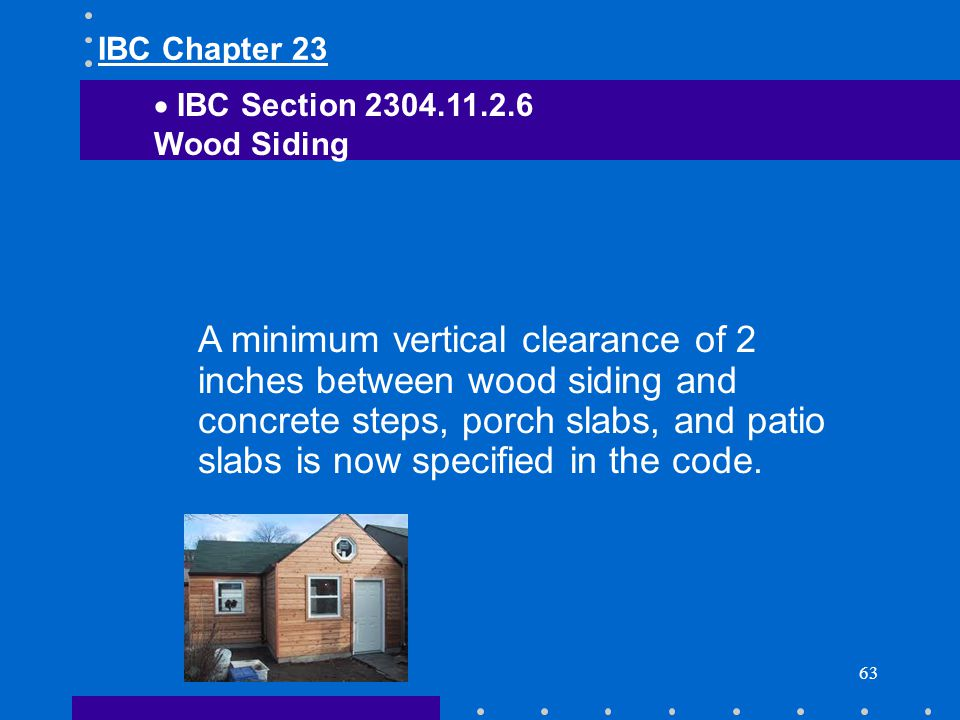 IBC Chapter 23 IBC Section Wood Siding.